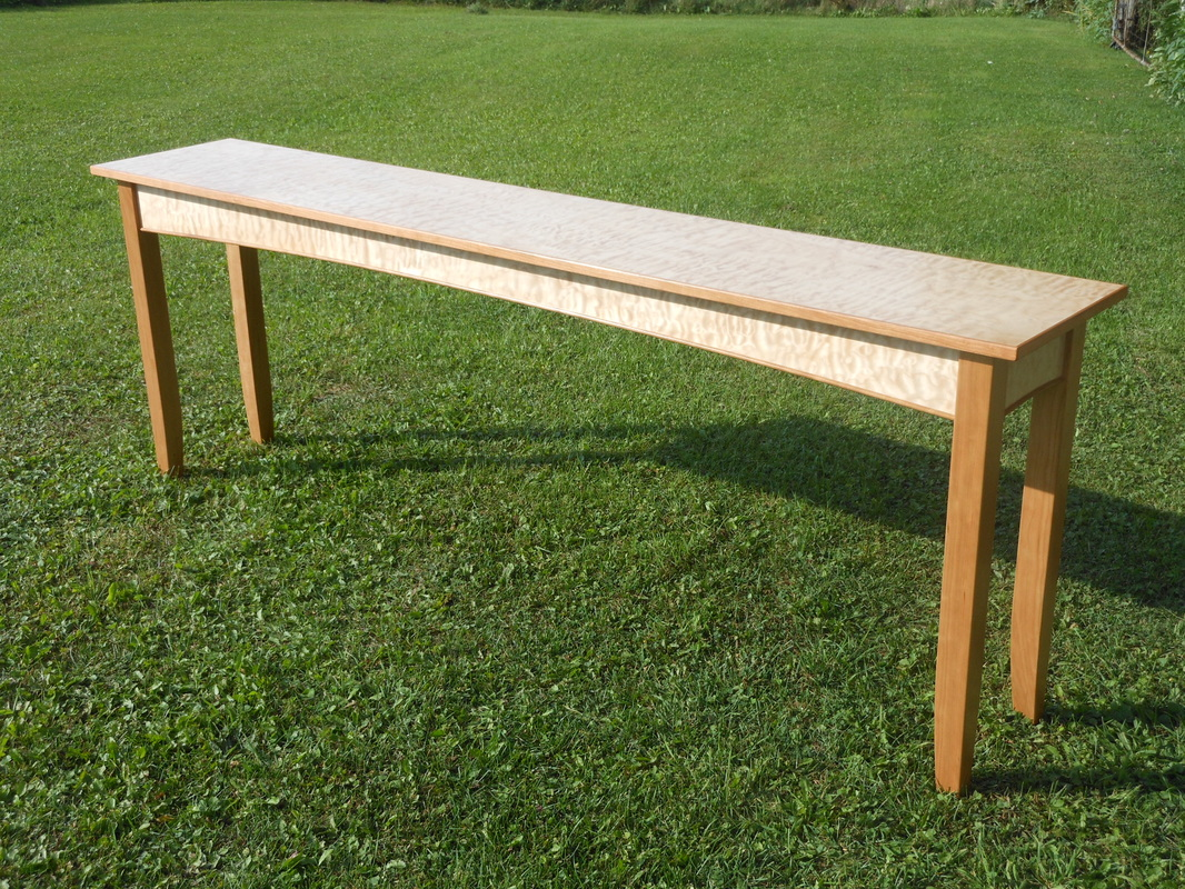 Long Quilted Maple Console Table